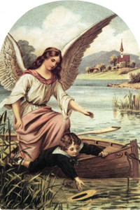 Guardian Angel on the Boat Arched Magnet
