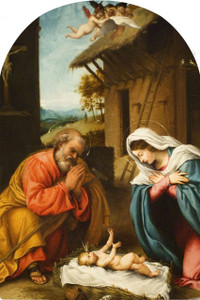 Nativity with Reaching Jesus Arched Magnet
