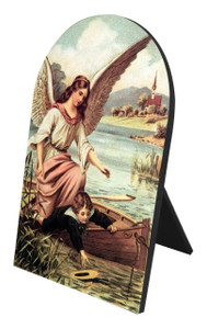 Guardian Angel on the Boat Arched Desk Plaque