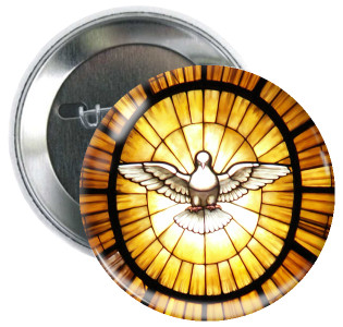 Holy Spirit Stained Glass Button