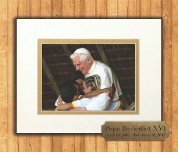 Pope Benedict with Children 8x10 Matted Print with Commemorative Plate