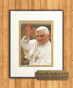 Pope Benedict Waving 8x10 Matted Print with Commemorative Plate
