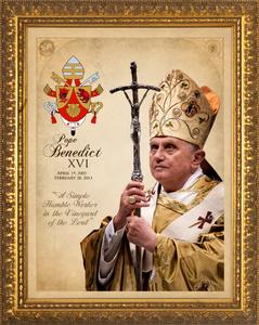 Pope Benedict XVI Commemorative Framed Art