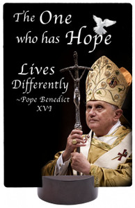 Pope Benedict XVI with Cross And Hope Quote Picture Desk Plaque