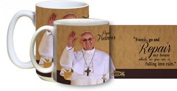 Pope Francis in Celebration with Quote Mug