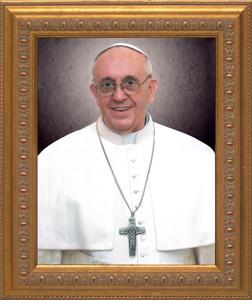 Pope Francis Formal Portrait: Ornate Gold Frame