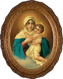 Schoenstatt Madonna Canvas in Oval Frame