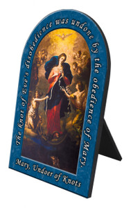 Mary Undoer of Knots Arched Desk Plaque with Prayer
