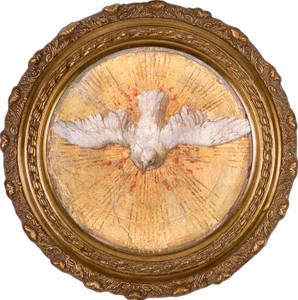 Holy Spirit Canvas in Round Frame