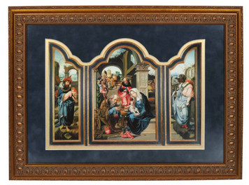 adoration of the magi dark blue matted triptych art