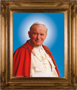 Pope John Paul II Sainthood Canonization Portrait: Canvas in Museum Frame