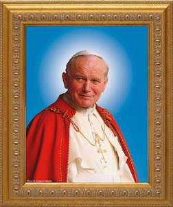 Pope John Paul II Sainthood Canonization Portrait: Ornate Gold Frame