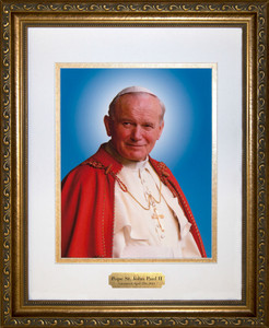 Pope John Paul II Sainthood Canonization Portrait Matted Framed Art with Plate