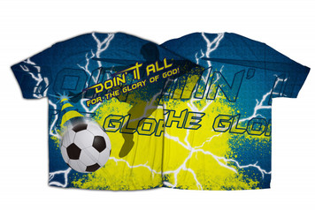 """Doing It All"" Soccer Graphic Poly T Shirt"
