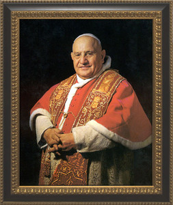 Pope John XXIII Sainthood Canvas Portrait: Ornate Black and Gold Frame