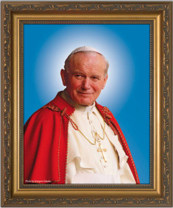 Pope John Paul II Sainthood Canonization Framed Canvas Portrait
