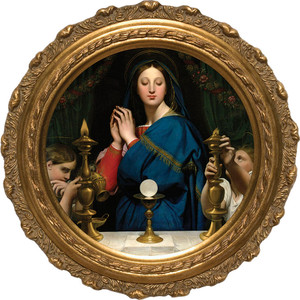 Madonna of the Host Canvas Round Framed Art