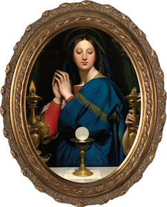 Madonna of the Host Canvas Oval Framed Art
