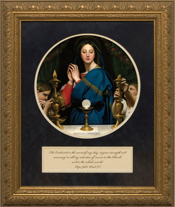 Madonna of the Host Matted with Quote - Standard Gold Framed Art