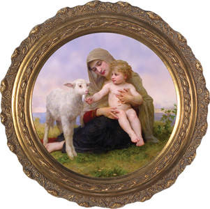 Virgin and the Lamb - Round Ornate Framed Canvas