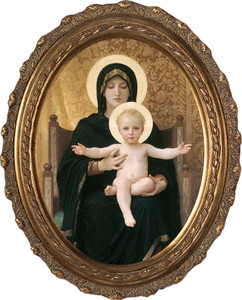 Virgin and Child Canvas - Oval Framed Art