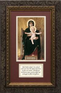 Virgin and Child Matted with Prayer - Ornate Dark Framed Art
