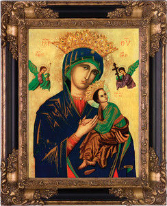 Our Lady of Perpetual Help Canvas - Black & Gold Museum Framed Art
