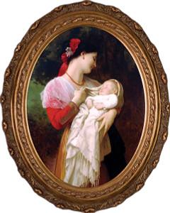Maternal Admiration Canvas - Oval Framed Art