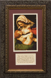 Madonna of the Green Cushion Matted with Prayer - Ornate Dark Framed Art