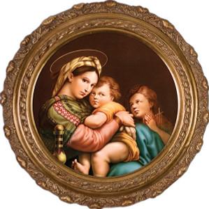 Madonna della Seggiola (Madonna of the Chair) Canvas - Round Framed Art