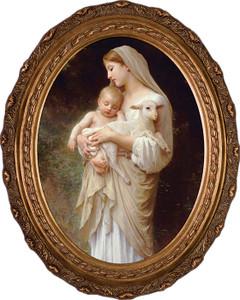 L'Innocence Canvas - Oval Framed Art