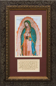 Our Lady of Guadalupe Matted with Prayer - Ornate Dark Framed Art