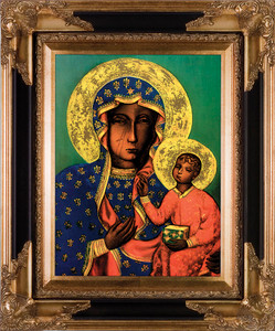 Our Lady of Czestochowa Canvas - Black and Gold Framed Art
