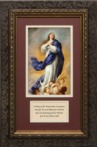 Immaculate Conception Matted with Prayer - Ornate Dark Framed Art