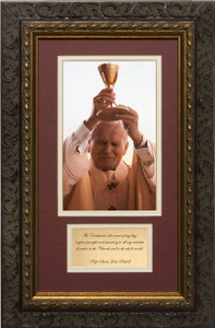 St. John Paul II Raising Chalice Matted with Prayer - Ornate Dark Framed Art