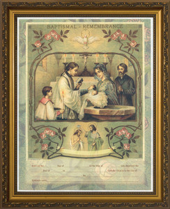 Holy Sacrament of Baptism Certificate - Gold Framed