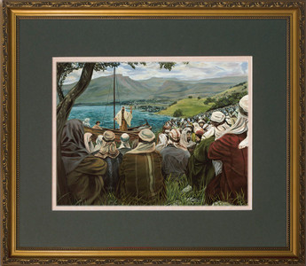Sermon on the Mount by Jason Jenicke Matted - Standard Gold Framed Art