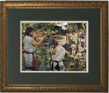 Baptism of Jesus by Jason Jenicke Matted - Standard Gold Framed Art