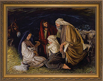 Adoration of the Shepherds by Jason Jenicke - Standard Gold Framed Art