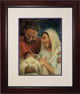 Nativity by Jason Jenicke Matted - Cherry Framed Art