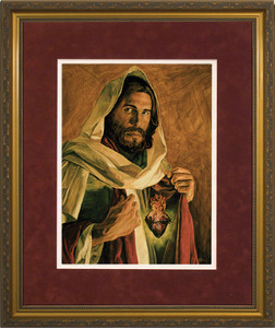 Sacred Heart of Jesus by Jason Jenicke Matted - Standard Gold Framed Art