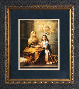 St. Anne with Mary Matted - Ornate Dark Framed Art