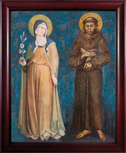 Sts. Francis and Clare Full Length Canvas - Cherry Framed Art