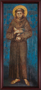 St. Francis Full Length Canvas - Cherry Framed Art