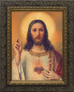 Antique Sacred Heart - Ornate Dark Framed Art
