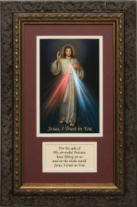 Divine Mercy Matted with Prayer - Ornate Dark Framed Art