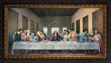 Last Supper by Da Vinci Restored Canvas - Ornate Dark Framed Art