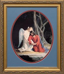 Gethsemane Round Matted - Gold Framed Art