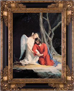 Gethsemane Round Canvas - Black and Gold Museum Framed Art