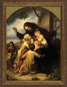 Jesus with the Children Canvas - Gold Framed Art